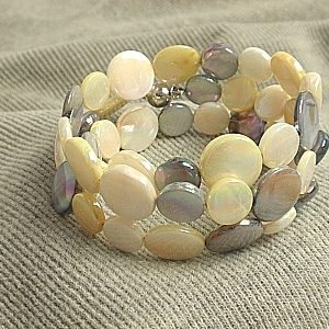#B126 Silver, Yellow, & White Mother of Pearl Wrap Bracelet