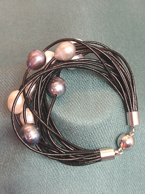 #B199BM Black Leather Bracelet with Mixed Freshwater Pearls