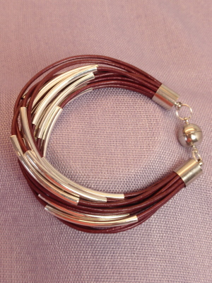 #B200PU Merlot Leather Bracelet with Silver Plated Tubes