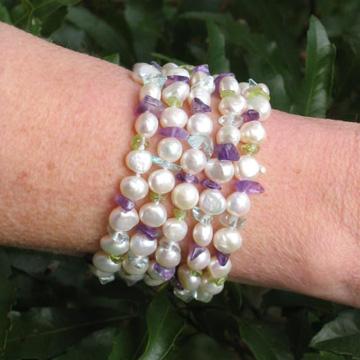 #B26 Pearl amethyst aqua and peridot bracelet
