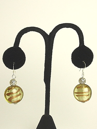 #E249 Green Murano glass earrings