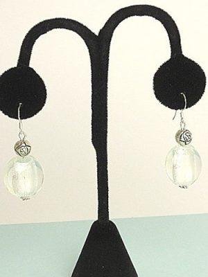 #E250 White Murano earrings