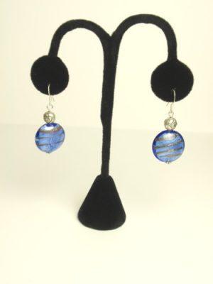 #E251 Blue striped Murano glass earrings