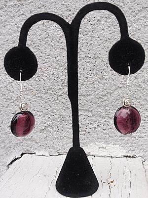 #E266 Purple Murano Earrings