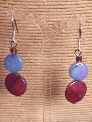 #E427 Mother of Pearl Earrings Blue and Raspberry