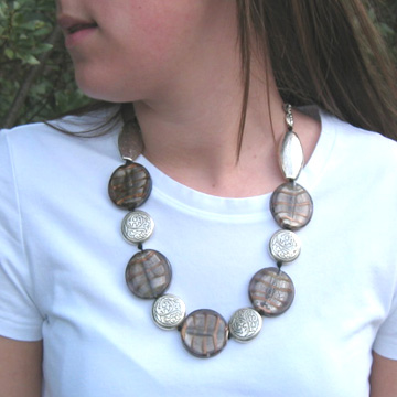 #F103 Bronze glass necklace accented with silver