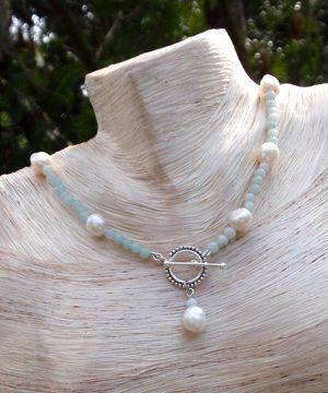 #F140 Amazonite pearl neckace