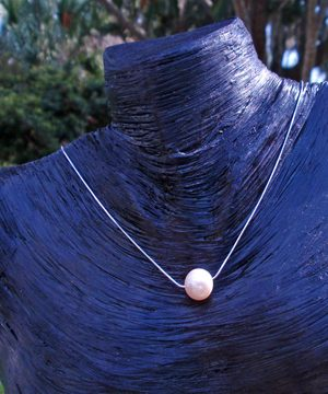 #F148Necklace with A quality freshwater white pearl