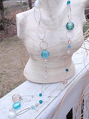 #F190 Aqua and Champagne Murano Necklace