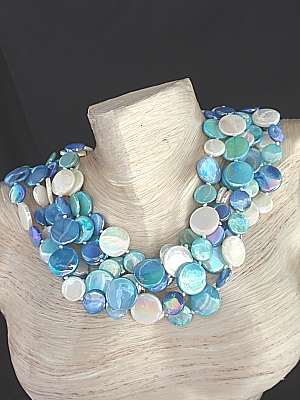 #F194 Six Strands of Blue and White Mother of Pearl Shell
