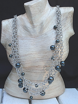 "#F201T 34"" Silverplated Chain with Black Pearls"