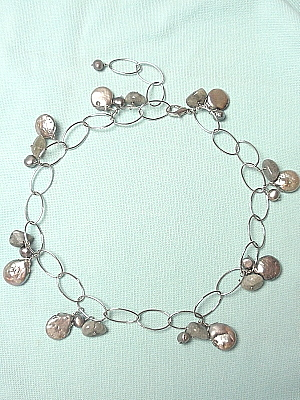 #F247 Labrodite and Silver Coin Pearls on Adjustable Chain