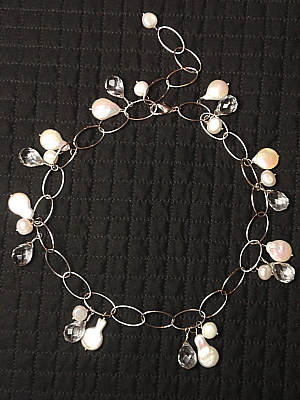 #F248 Clear Teardrop Quartz with White Coin Pearls