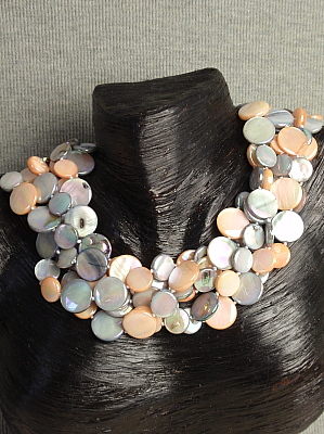 "#F268 20"" Six Strands of Silver and Peach Mother of Pearl"