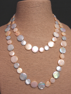 "#F268L 39"" Triple Strand Silver and Peach Mother of Pearl"