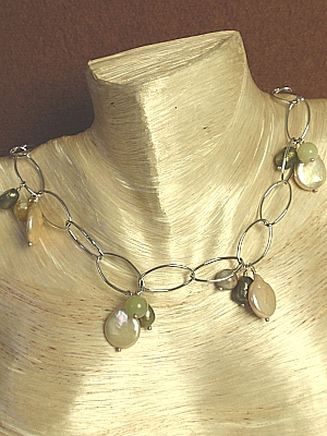 """#F270 16-19"""" Adjustable White Gold Plated Chain Accented with Pearls and Jade"""
