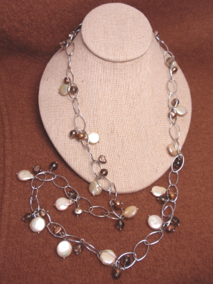 """#F271 36"""" Gold Plated Chain with Freshwater Pearls and Smokey Quartz"""