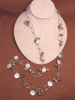 """#F272 36"""" Champagne Coin Pearls with Jade White Gold Plated Chain"""