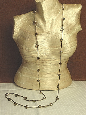 """#F273 40"""" Taupe Braided String with Smokey Pearl"""