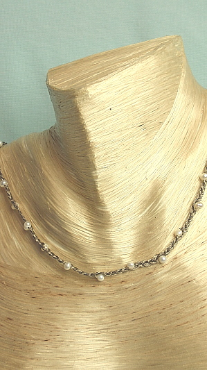 """#F278 16"""" Braided Gray Seed Pearl Necklace"""