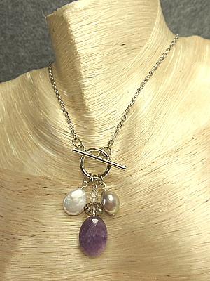 """#F310-10 Amethyst Quartz and Freshwater Pearl """"Frosting Necklace"""""""