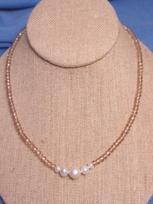 #F323 Single Crystal Necklace with Pearls