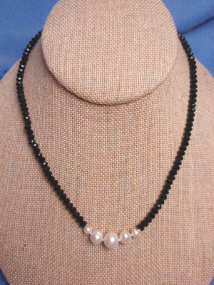 #F324 Single Black Faceted Crystal and Freshwater Pearl