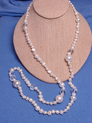 """#F329 36"""" White Pearls White Mother of Pearl and Crystals"""