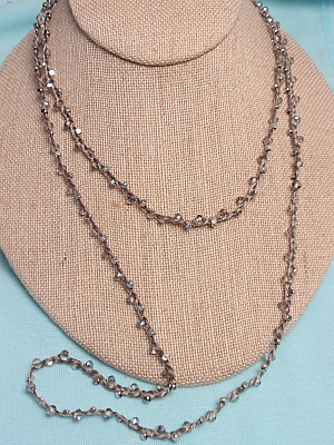 """#F332 42"""" Taupe Braided String with Silver Beads and Crystals"""