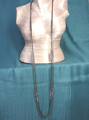 """#F334 38"""" Four Strand Stainless Steel Necklace with Crystals"""