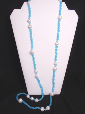 """#F345A 40"""" Cloudy Aqua Crystals with Mother of Pearl"""