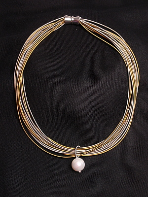 #F352SGW Silver and Gold Stainless Steel Necklace with White Mother of Pearl