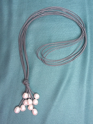 "#F405GW 30"" Grey Leather Necklace with Freshwater Pearls"