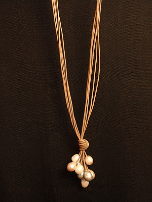 #F405MOM Mocha Leather with Freshwater Pearls