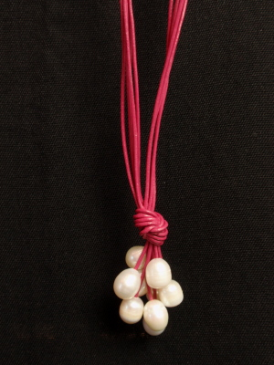 "#F405PIW 30"" Dark Pink Leather Necklace with White Freshwater Pearls"