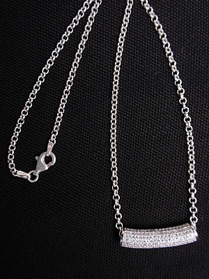 #F412SL Sterling Pave Bar with Sterling Silver Chain