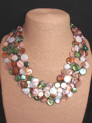 #F414 Mother of Pearl Necklace Bronze Mix