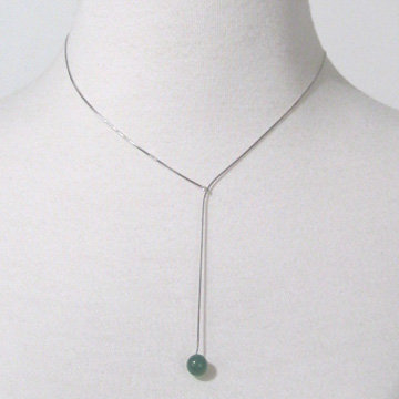 #F5 Sterling silver lariat with jade