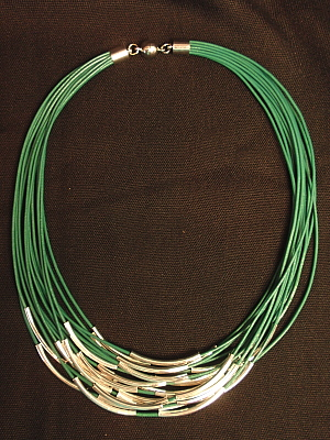 #F527T Teal Leather with Silver Plated Tubes
