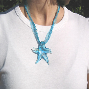 #F96 Aqua glass starfish necklace