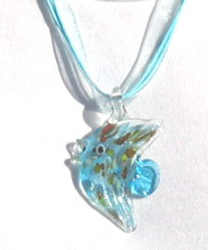 #F97 Aqua glass fish pendant necklace