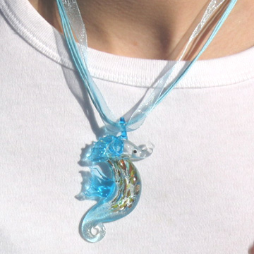 #F98 Glass Seahorse necklace