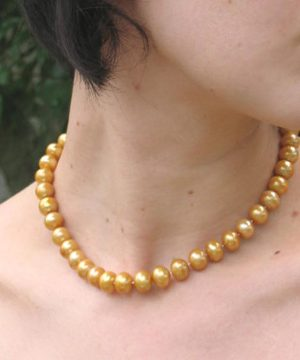 #L57 Gold pearl necklace with silver clasp
