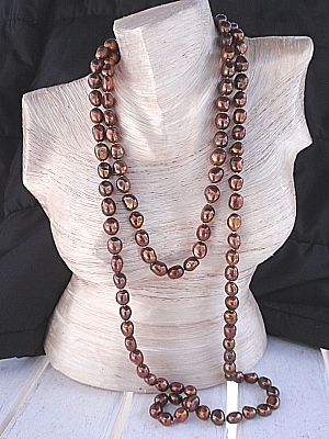 "#L84 50"" Brown Baroque Pearl Necklace"