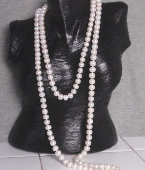 #L9 9.5 mm White freshwater pearl necklace 48""