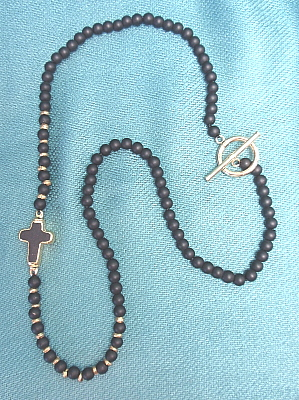 #LE353 Black Agate with Cross