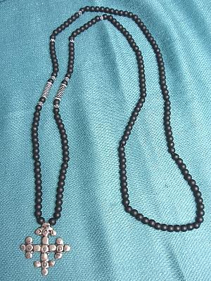 "#LE366C 30"" Black Agate with Cross Pendant"