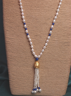 """#LE410 30"""" Lapis and Freshwater Pearl Necklace with Tassel"""