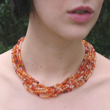 #PS154 Six strands of 4mm agate necklace