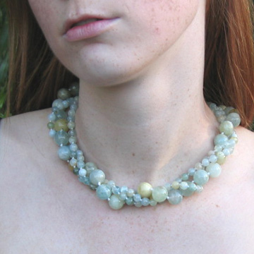 #PS317 Aquamarine 3 strand mix necklace